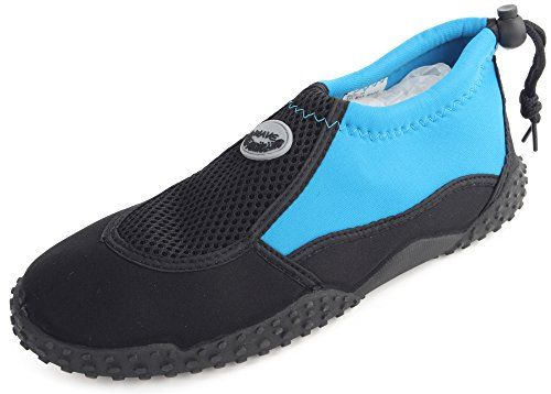 Enimay Women's Outdoor Stretch Nylon Mesh Rubber Sole Adjustable Water Shoe Black-lt.blue 9 *** Find out @