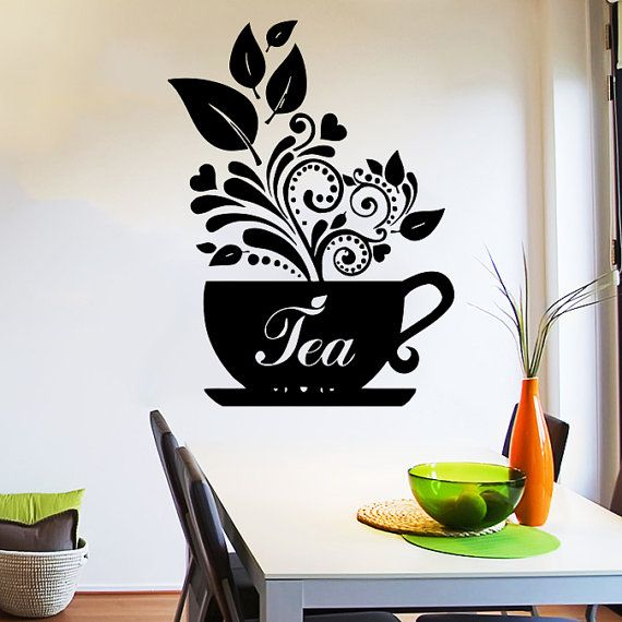 Wall Decal Tea Cup of tea Decals Cafe Dining Vinyl Stickers Murals Modern Interior Kitchen Coffee Shop Home Decor Art Design Interior