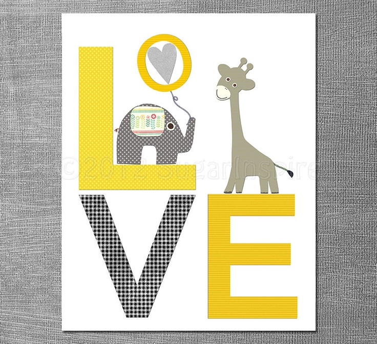 silver designer jewellery Yellow and grey LOVE nursery Art Print 8x10 Baby boy room Kids Roo