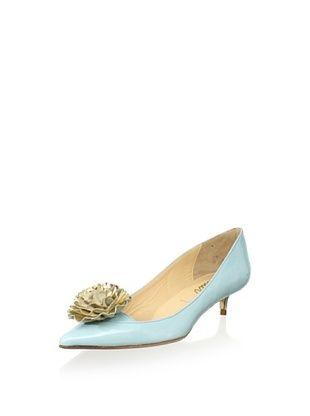 Butter Women's Sadie Flower Pointed Toe Kitten (Sky Blue/Platino)
