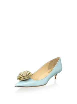 Butter Women's Sadie Flower Pointed Toe Kitten (Sky Blue/Platino)