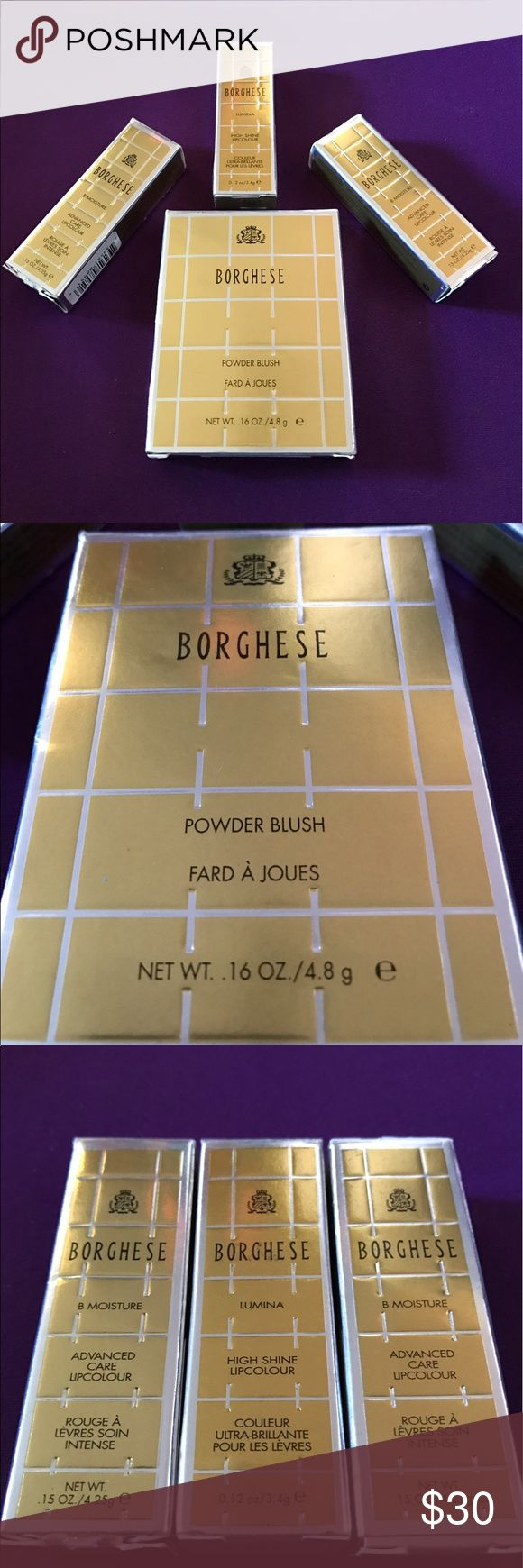 Borghese Makeup Package New in the box Borghese Blush and 3 lipsticks. The blush is rosa brilliante and the lipsticks include 2 carnevale red (advanced care) and 1 dolce vita pink (high gloss). Great makeup set for a great price. Borghese Makeup