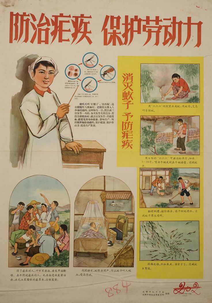 Produced by Chengdu City Red Cross and Chengdu Heath Propaganda and Education Institute. Printed by Sichuan People's Printing Factory, 1963.  The poster explains regional names of malaria and how mosquitoes spread malaria, its symptoms and harm to health and labor. Images emphasize methods of prevention