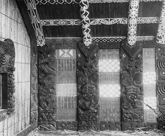 Porch at Te Rauru meeting house at Whakarewarewa