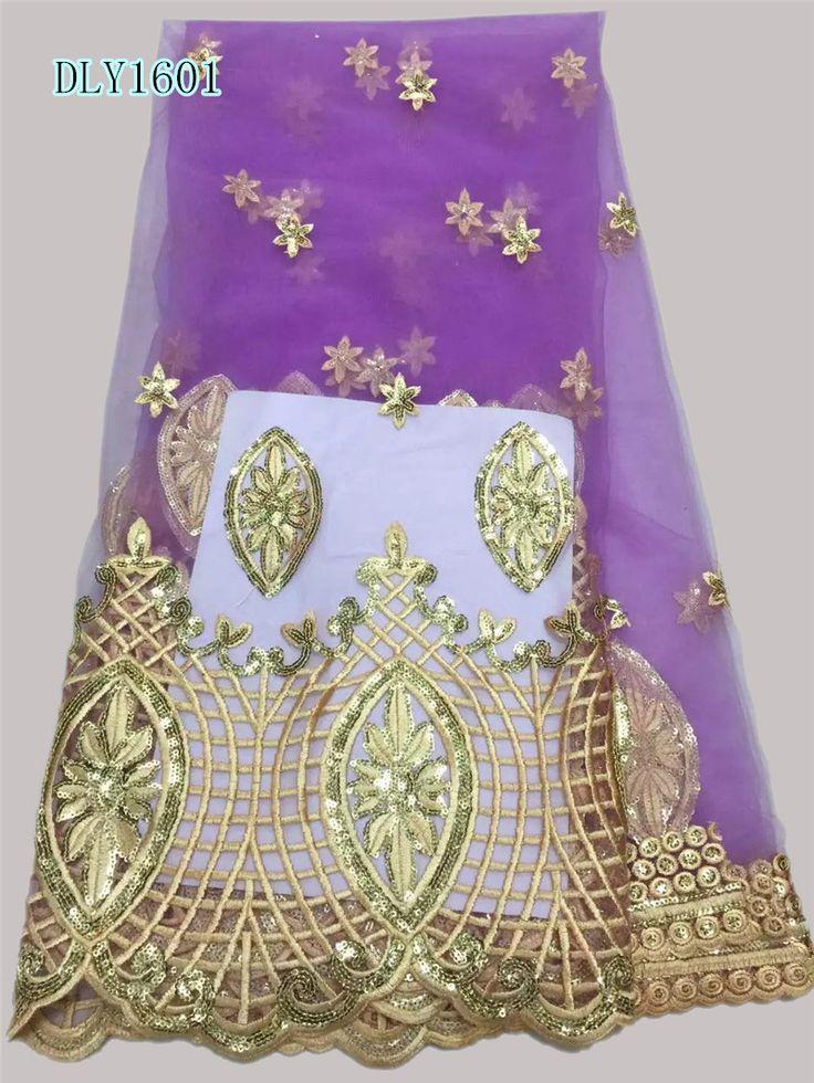 Бесплатная доставка Прозрачный французский чистая кружевной ткани со стразами тюль красивые Африканская ткань шнурка швейная meterial DLY16 купить на AliExpress