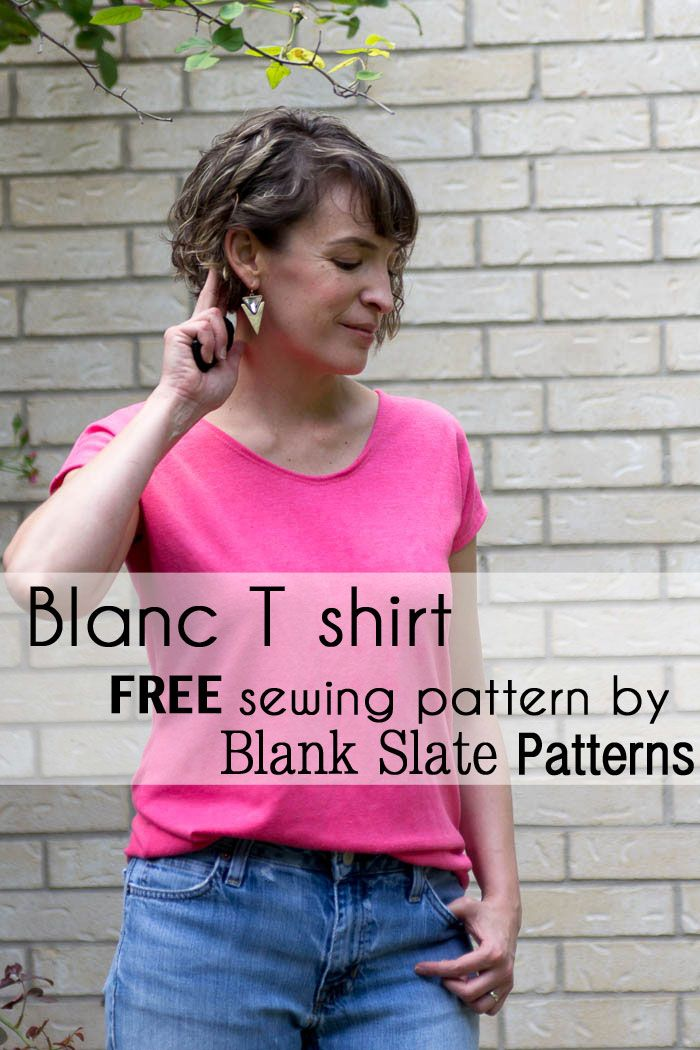Blanc T shirt sewing pattern by Blank Slate Patterns - FREE women's casual t shirt in sizes XXS-3X