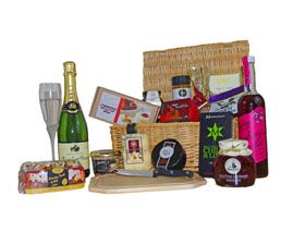 Champagne, treats, cheese and chocolates. Lovely Wedding Day Hamper! http://www.allthebesthampers.co.uk/product/441-the-highgrove-hamper/
