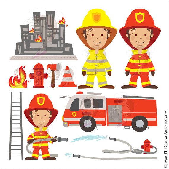 Check out this item in my Etsy shop https://www.etsy.com/au/listing/260716686/firefighter-fireman-clipart-fire-truck