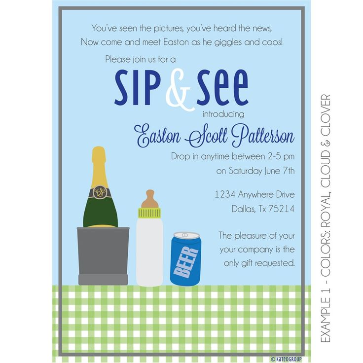 This Boozy Sip and See Invitation is perfect for introducing your little one to the world.  Whether it is a backyard BBQ or small gathering of friends to toast your little one's arrival this i…