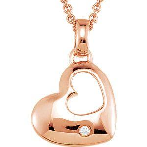 ".01 ct tw Diamond Heart 18"" Necklace | Stuller.com"