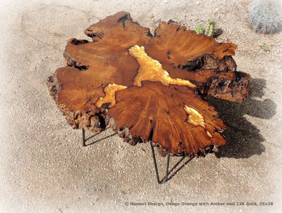 Rare Osage Orange Burl Coffee Table W Amber And Gold Inlay