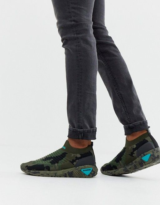 c52e46a38 Diesel knitted sneakers in camo | asos men | Knit sneakers, Camo ...