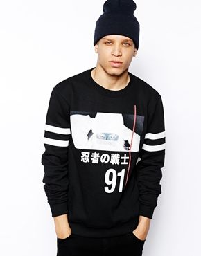 Anticulture Sweatshirt with Ninja Front and Back Print