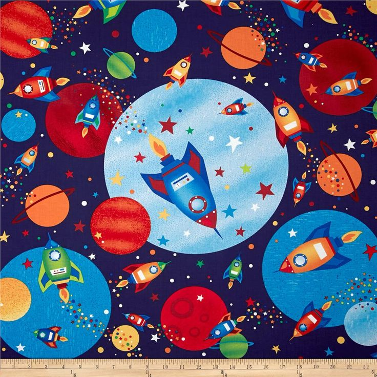 Rockets robots space rockets navy fabric to swoon over for Space fabric quilt