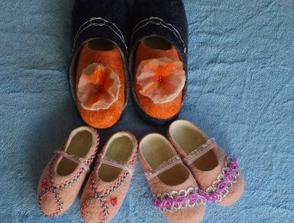 Special Order for Kate: Family of 4 felted slippers FeltSoapGood.Felt.co.nz Sold