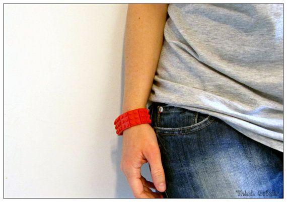 Red Bracelet made with Lego® Bricks Total Red 2x3 plates handmade with original Lego® bricks