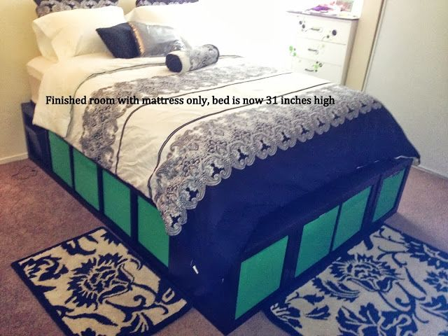 Expedit Queen Platform bed - IKEA Hackers - IKEA Hackers. Make this double bed with super storage underneath out of a few IKEA book cases & some board.