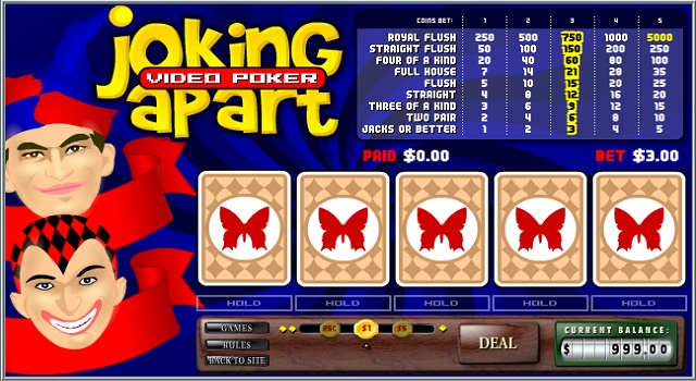 The object of Joker Poker is to start with five cards, and through discarding some of the cards and drawing others build a hand which contains one of a number of different winning combinations similar to those in the traditional table game of Five Card Draw Poker.