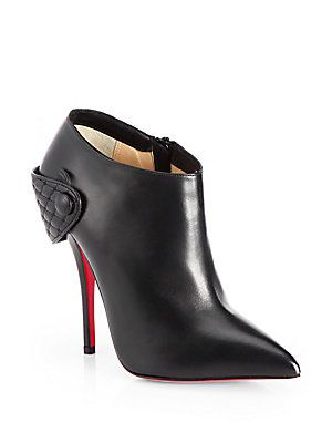 Christian Louboutin Huguette Leather Moto Ankle Boots