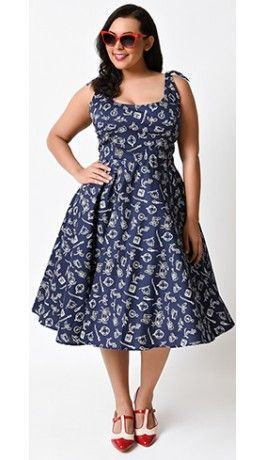 b979dd7a35b67 Hell Bunny Plus Size 1950s Navy Nautical Marin Cotton Sailor Swing Dress