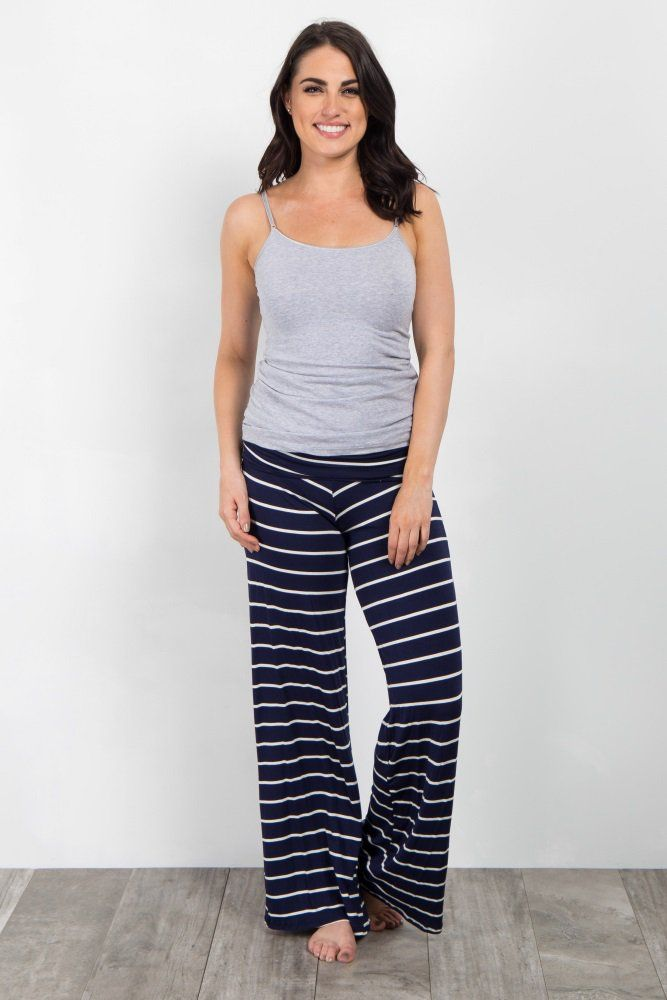 e218c8aef1361 Navy Blue Striped Foldover Lounge Pants A striped maternity lounge pants.  Foldover elastic waistband. This style was created to be worn before,  during, ...