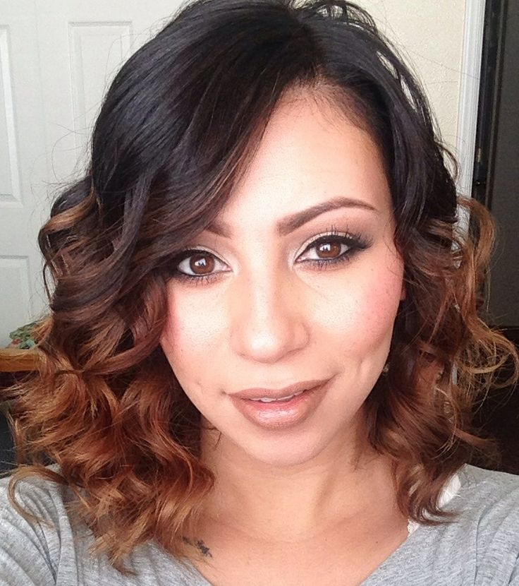 a line haircuts for curly hair curly a line bob haircut with ombre ig 2933