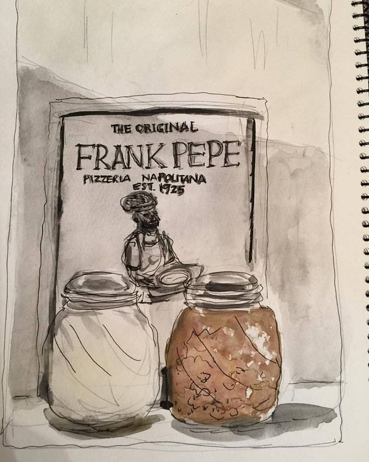 78/365. Table at Frank Pepe's Pizza in Danbury. Watercolor/ink/pencil.