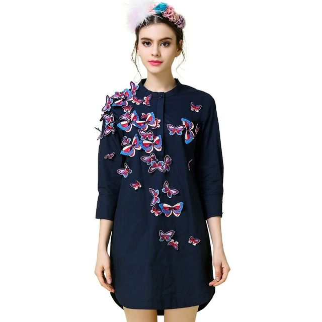Plus Size Women Blouses 2016 Spring Summer Style Butterfly Embroidery Stand Collar Casual Long Blouse Blusas 2201 US $78.90 /piece To Buy Or See Another Product Click On This Link  http://goo.gl/IdJFhm