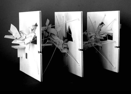 Siteline Vienna Urban performance Structures, 1998. Lebbeus Woods. Model