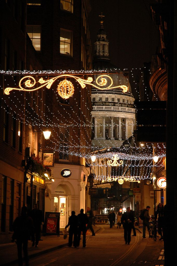 St. Paul's and Christmas Lights, by Jay Bergesen