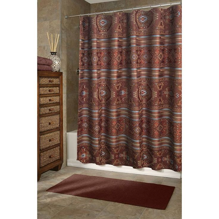 Texture Color And Southwestern Style Combine In This Stunning Shower Curtain It Made Of Heavy Woven Jacquard Shades Brown Brick Turquoise