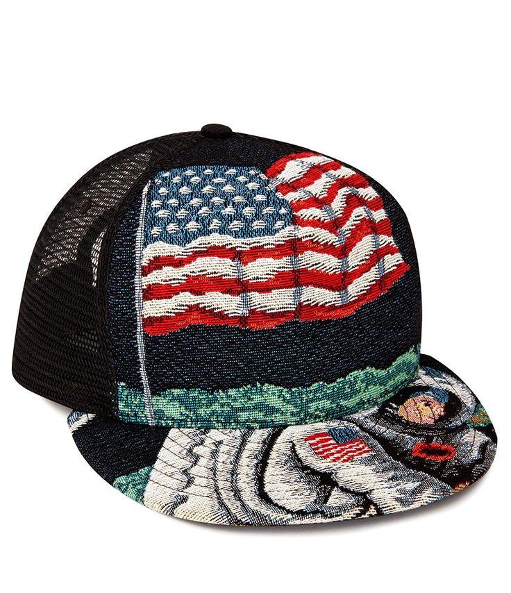 Saint Laurent Trucker Hat Moon Discovery Baseball Cap