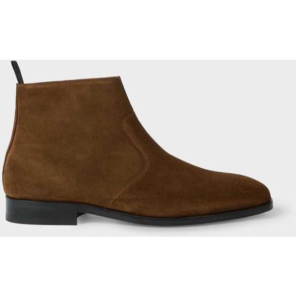 mens slipper boots with zips. paul smith men\u0027s brown suede \u0027mulder\u0027 boots ($395) ❤ liked on polyvore featuring fashion, shoes, boots, mens leather sole slipper with zips