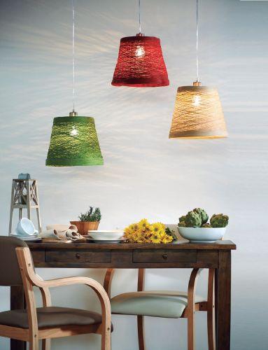 La misma lámpara en 3 distintos colores para generar un ambiente campestre en tu comedor. ¿Qué te parece?  #Home #Deco #Easy #Colors #EasyTienda #TiendaEasy #Iluminacion #decotendencias