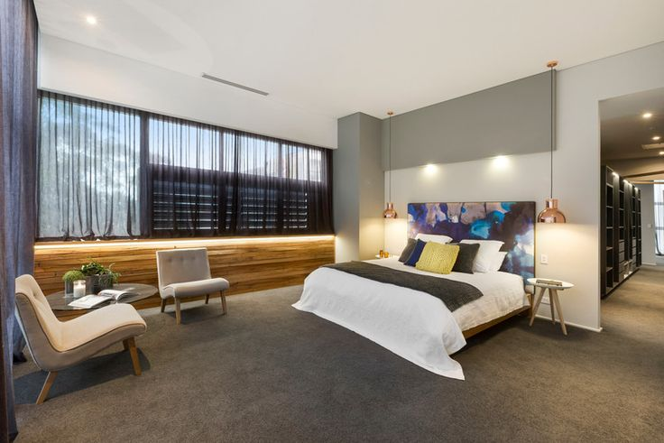 This Master was as impressive as seen here.  Mexsii Bedhead beautiful, again the use of timber brilliant and the huge walkin robe.  The pendant lights are perfect!
