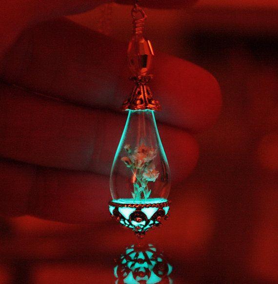 Baby's breath in Glass Tear Drop GLOW in the DARK by Papillon9