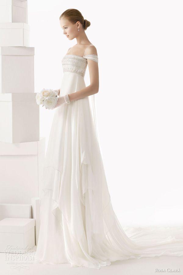 rosa clara wedding dresses 2014 bridal celia empire waist beaded bodice sleeves straps