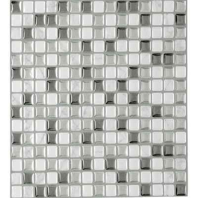 """Achim Importing Co Magic Gel Self Adhesive 9.13"""" x 9.13"""" Vinyl Wall Tile in Silver Glass"""