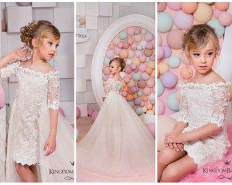White Lace Flower Girl Dress Birthday by KingdomBoutiqueUA