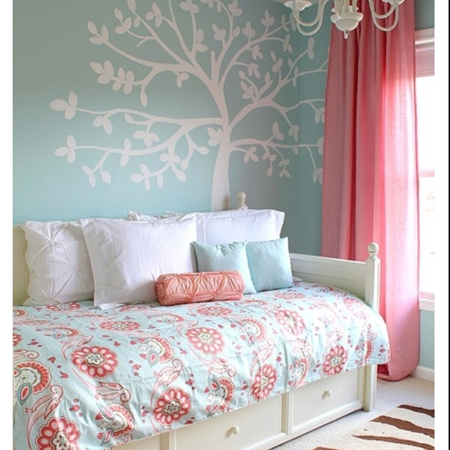 title | Light Blue And Coral Bedroom