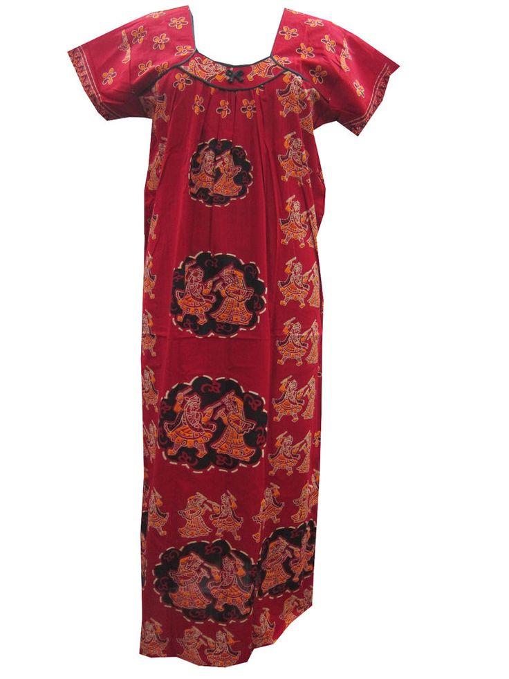Cotton Maxi Nightgown Hippie Gypsy Sleepwear