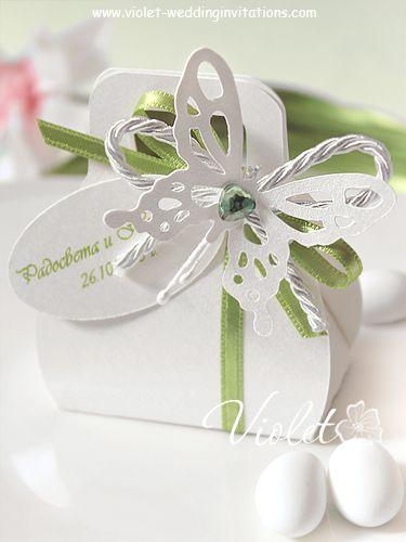 """Butterfly"" Wedding Bomboniere, Violet Handmade Wedding Invitations"