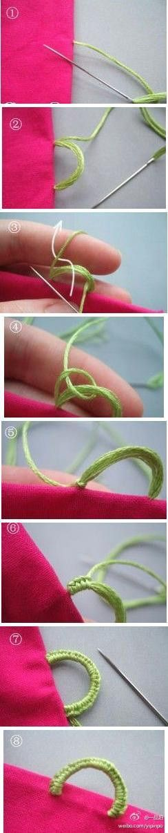 Make a button loop with Buttonhole stitch