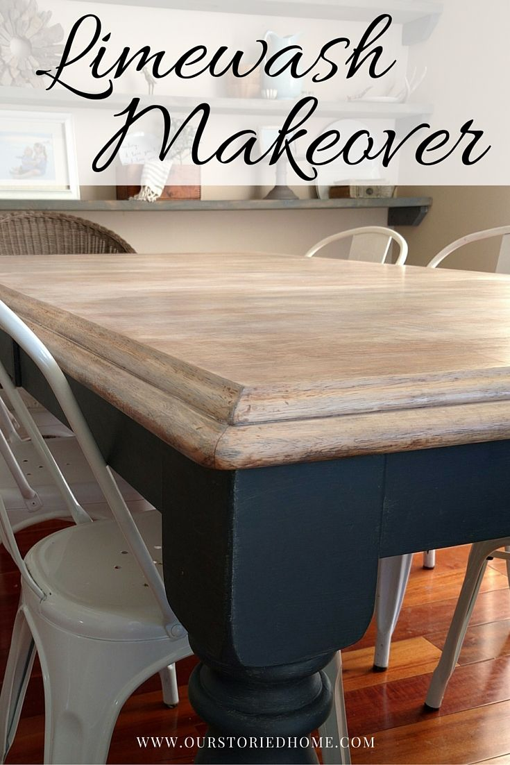 Limewashed Table Makeover Dining Room