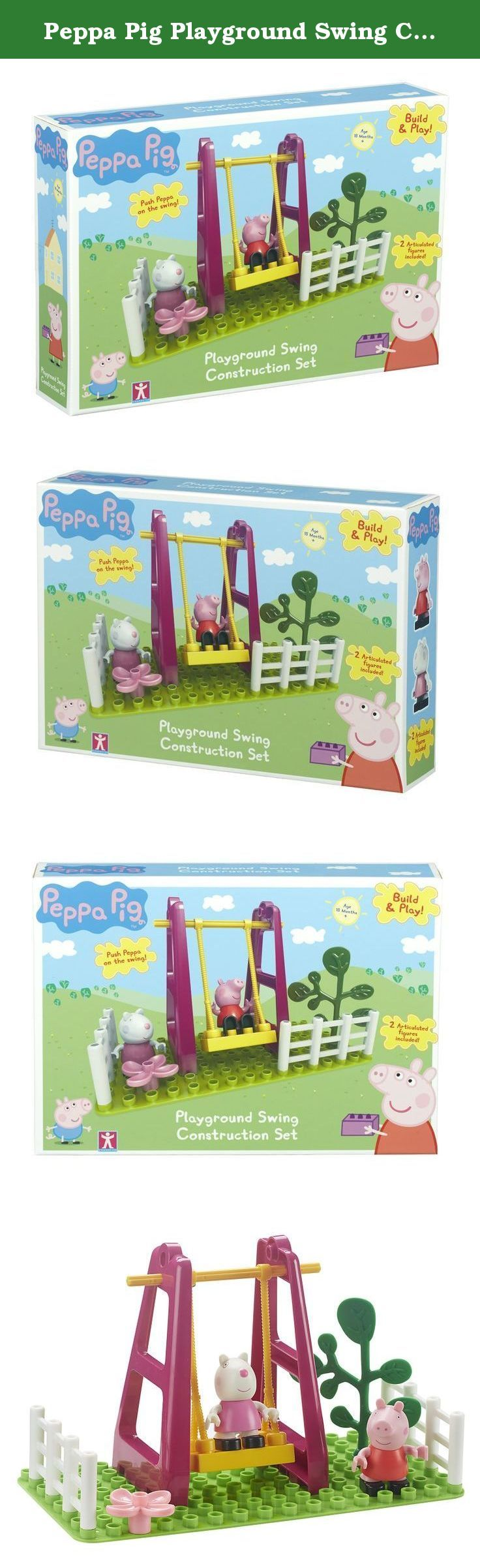Peppa Pig Playground Swing Construction Set. Have fun building this large brick playground swing playset. Includes Peppa Pig and Suzy Sheep articulated figures that clip on to the set. Push them on the swing for playground fun! Encourages dexterity and coordination skills. Compatible with other Peppa Pig Construction playsets. .