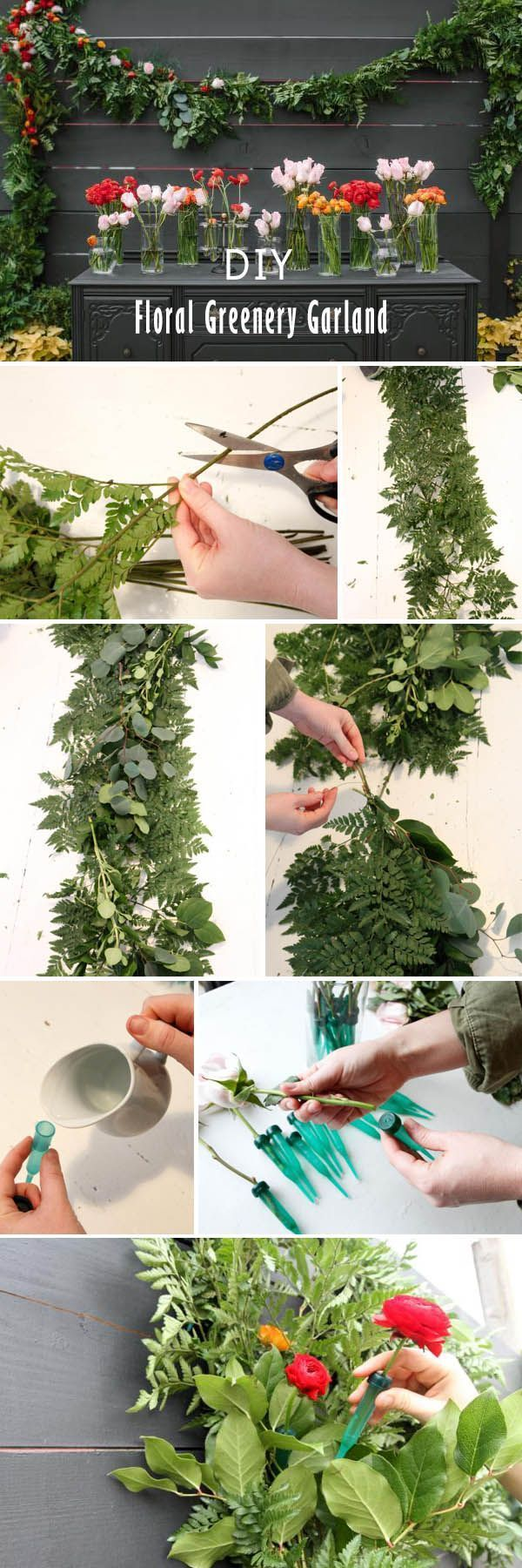 DIY floral greenery garland for weddings   Look for other great tips at www.pinterest.com/laurenweds/wedding-flowers