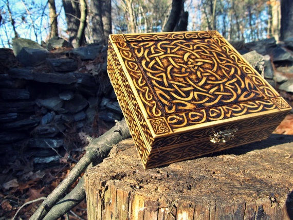 Woodburned Celtic CircularKnot Box by burntstuff on Etsy, $70.00