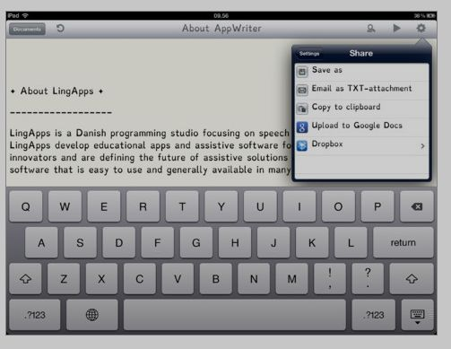 AppWriter-assistive technology iPad app for text to speech, basic word prediction. From OT's with Apps. Pinned by SOS Inc. Resources @sostherapy.
