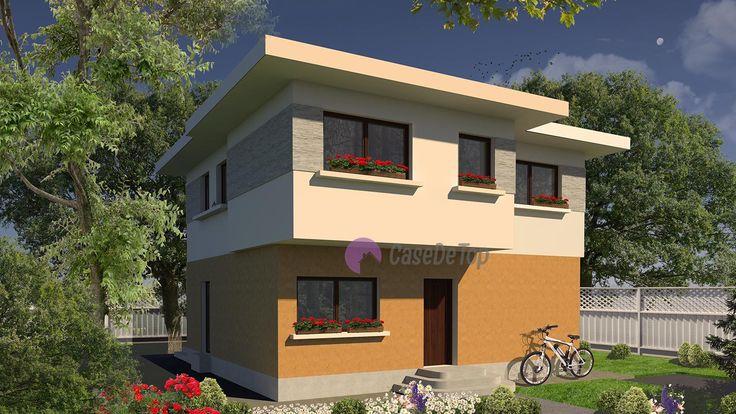 Casa mica organizata pe parter si etaj 117 mp utili- Zona acces principal| Single-family dwelling- Street view| Etichete: case mici, case mici cu etaj, case moderne