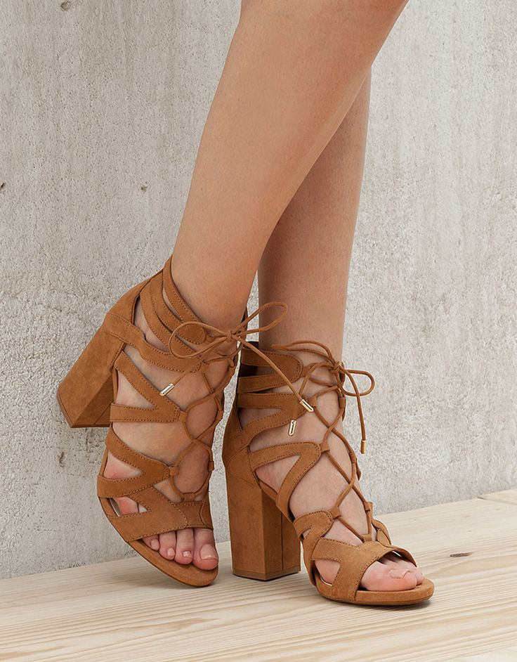 Tied heeled sandals. Discover this and many more items in Bershka with new products every week